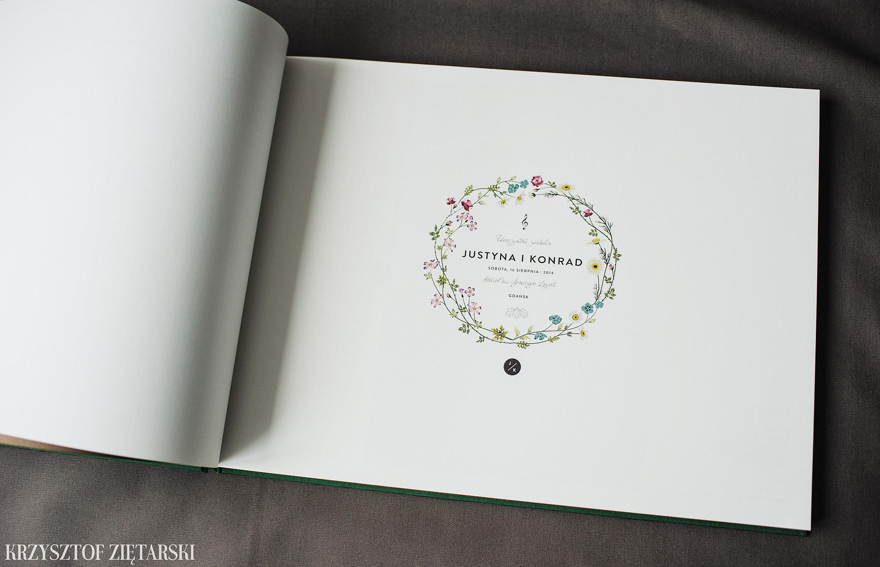 KrukBook 40x30cm, papier kremowy niepowlekany, zielone płótno C25 i tabakowa wyklejka - zdjęcia, przykłady