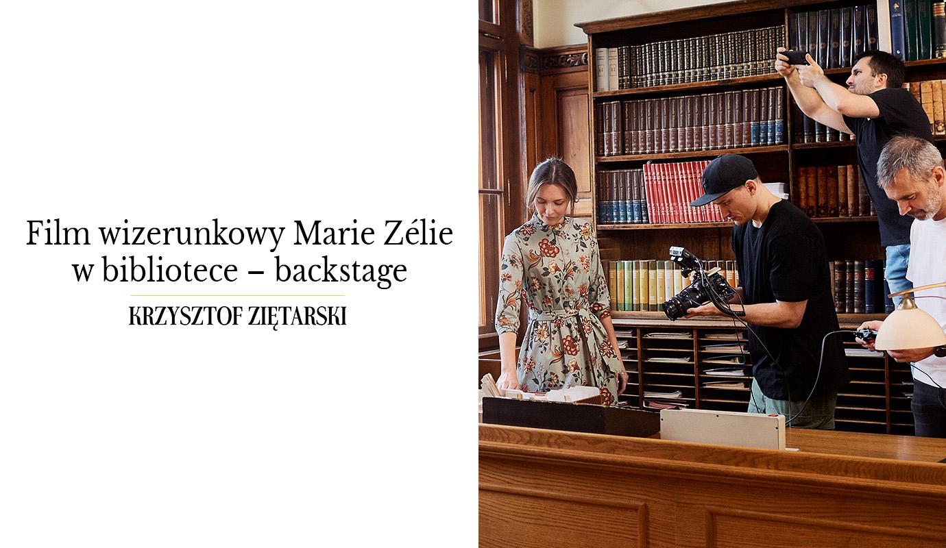 Film wizerunkowy Marie Zélie w bibliotece – backstage